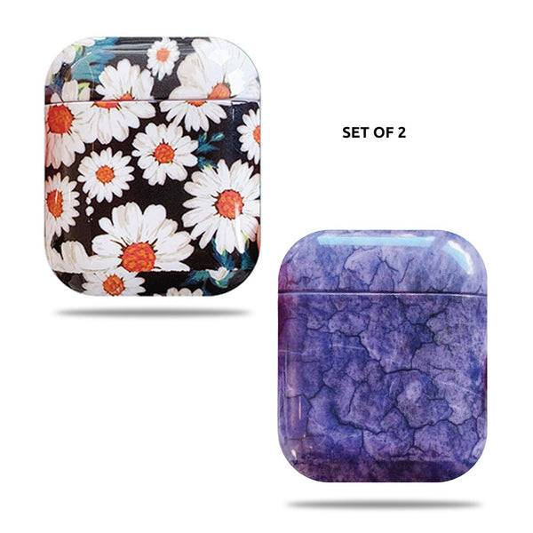 Hard Glossy Airpods Case - Daisy & Purple