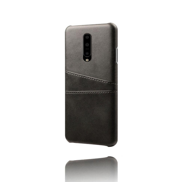 PU Leather Card Pocket Back Cover for OnePlus 7 Pro (Black)-Hamee India