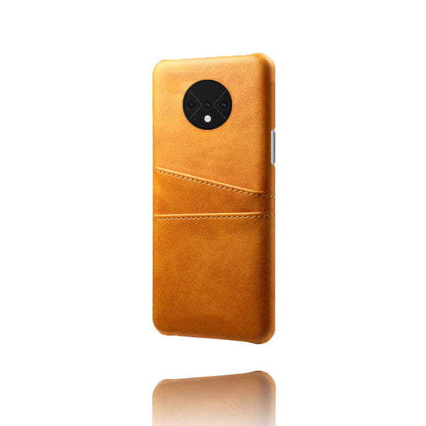 Leather Card Pocket Back Cover for OnePlus 7T (Tan Brown)