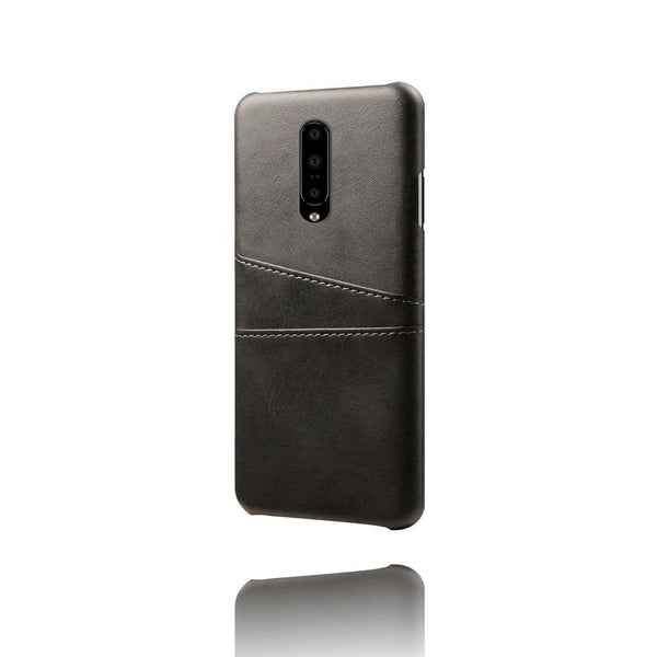 PU Leather Card Pocket Back Cover for OnePlus 7 (Black)-Hamee India