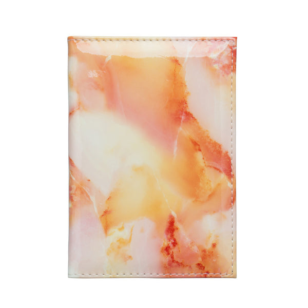 Glossy Marble Finish Passport Wallet / Holder - Orange
