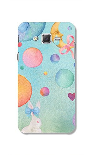 Hamee Rabbit And Moon / Pastel Multicolour Designer Cover For Samsung Galaxy J7-Hamee India