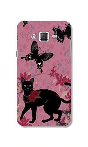Hamee Cat Butterflies / Pink X Black Designer Cover For Samsung Galaxy J7-Hamee India