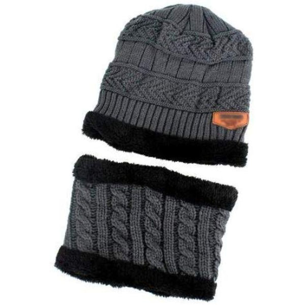 Beanie & Muffler Set - Dark Grey