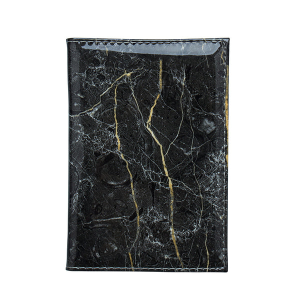 Glossy Marble Finish Passport Wallet / Holder - Black