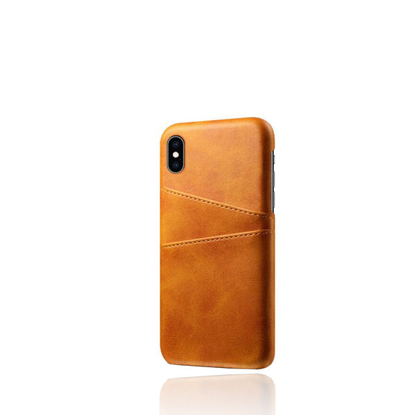 PU Leather Card Pocket Back Cover for iPhone X (Tan)