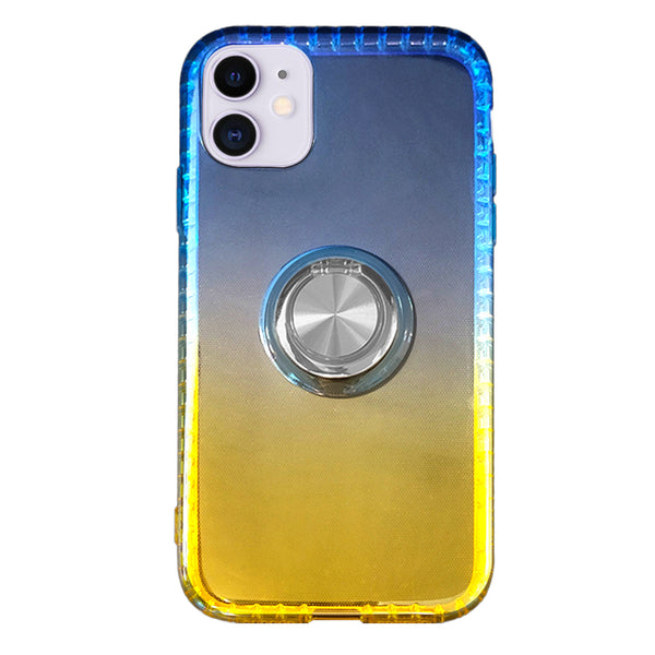 Gradient TPU Case with Ring Holder for iPhone 11 - Blue & Yellow
