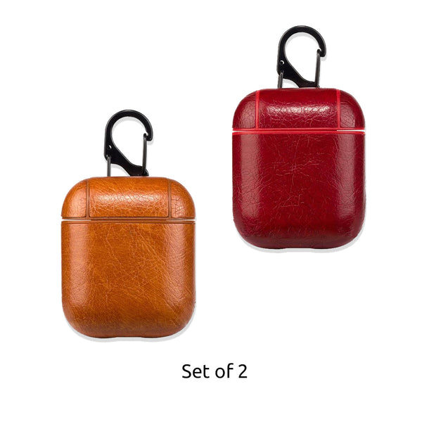 Leather Airpods Case - Tan Brown & Red-Hamee India