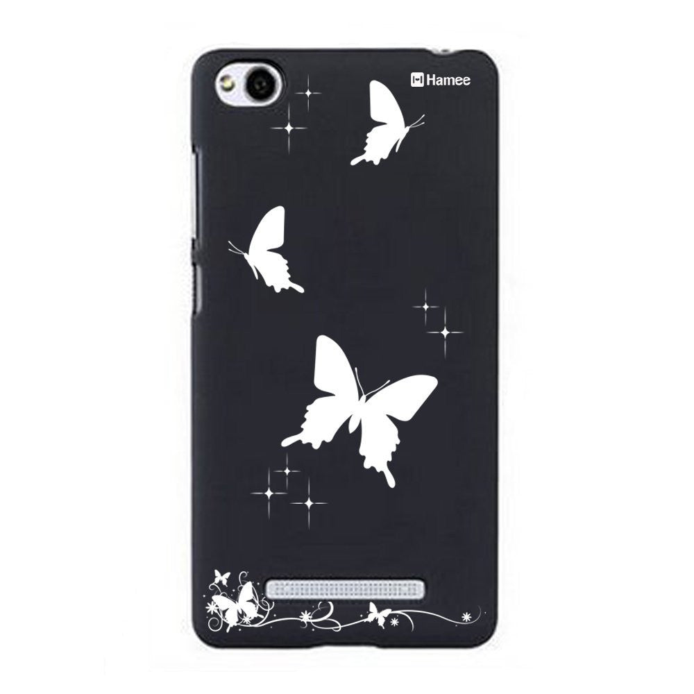 Hamee White Solid Butterflies Designer Cover For Xiaomi Redmi 3-Hamee India