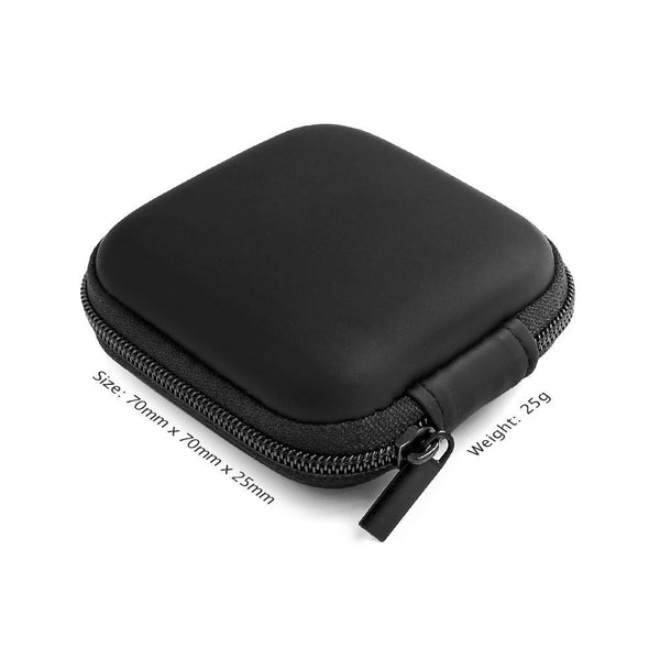 Mini Square Carrying Pouch for Earphones & Cables - Black-Hamee India