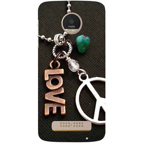 Hamee Love and Peace Design 3D Printed Hard Back Case Cover for Motorola Moto G5