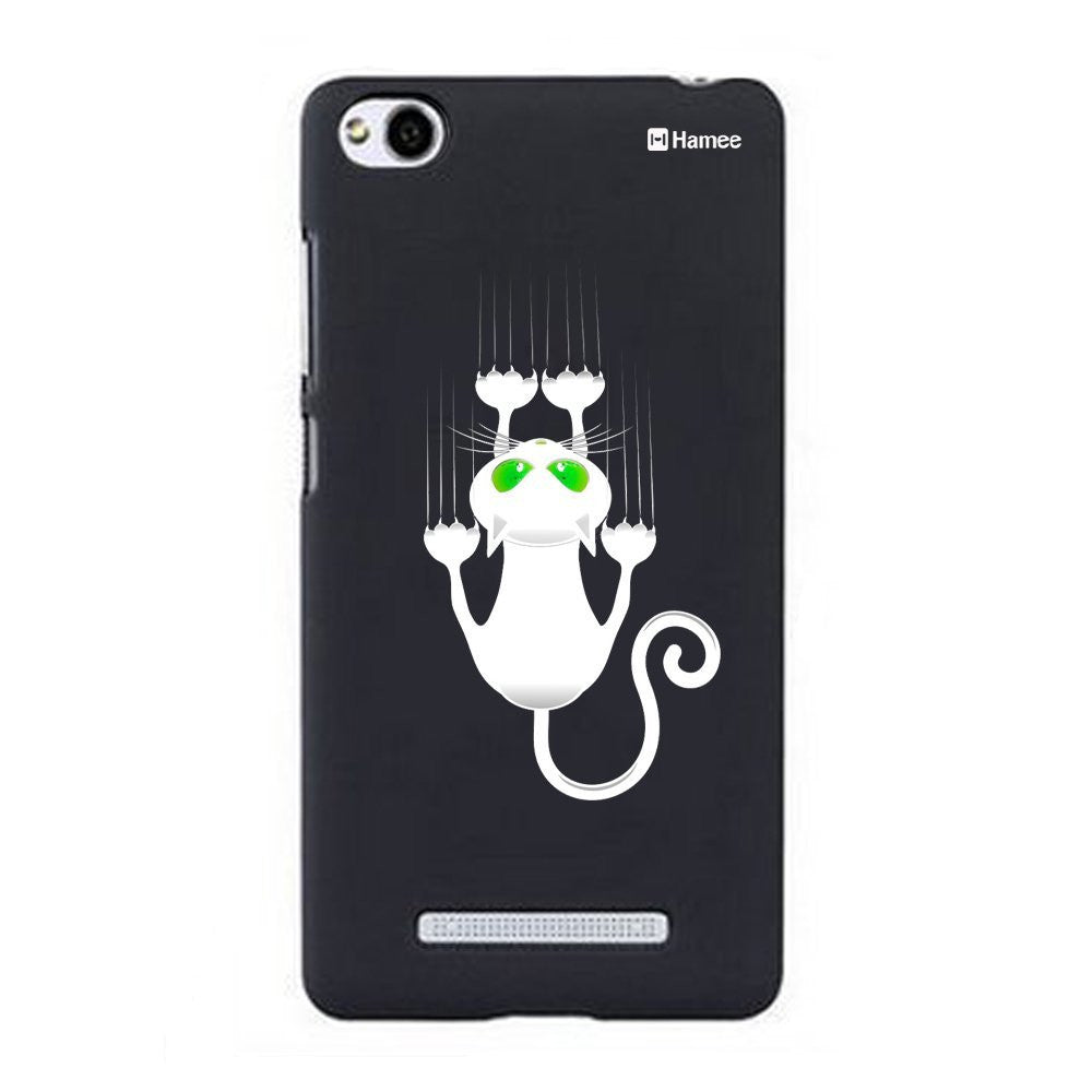 Hamee White Scratch Cat Designer Cover For Xiaomi Redmi 3-Hamee India