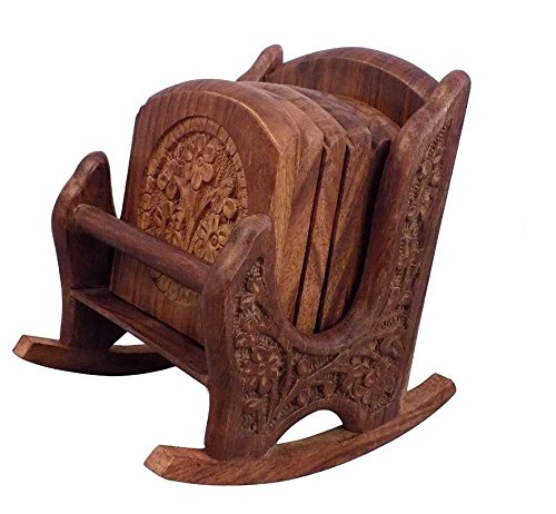 Wooden Coaster Set with Rocking Chair Stand (6 Coasters)-Hamee India