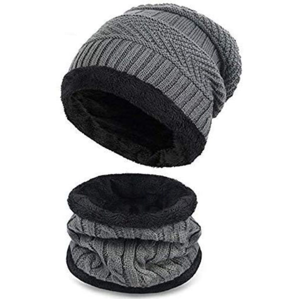 Beanie & Muffler Set - Light Grey