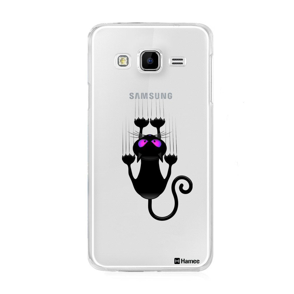 Hamee Black Scratching Cat Designer Cover For Samsung Galaxy J7-Hamee India