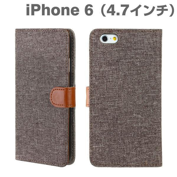 [JP] Fabric Type Diary Case for iPhone 6 (Grey-Brown) - Hamee India - 1
