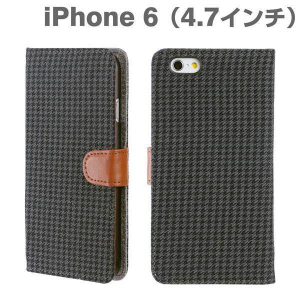 [JP] Fabric Type Soft Diary Case for iPhone 6 (Houndstooth/Black & Grey)