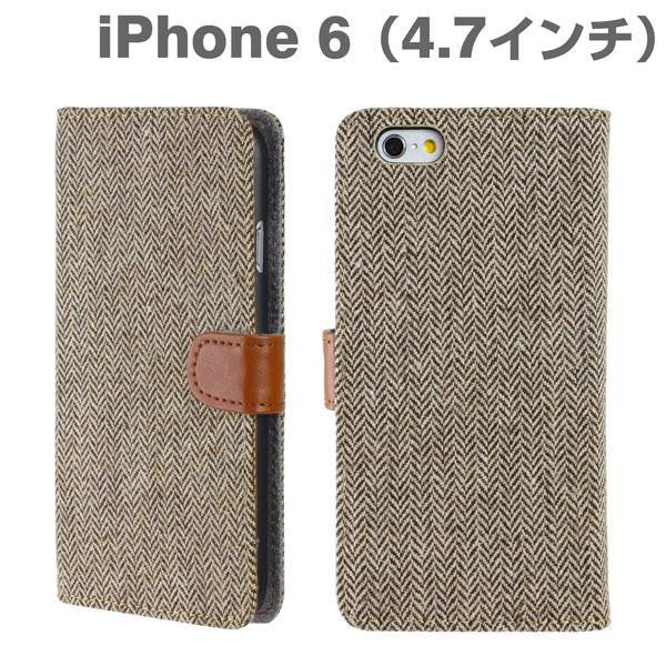 [JP] Fabric Type Soft Diary Case for iPhone 6 (Herringbone/Brown)