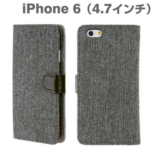 [JP] Fabric Type Soft Diary Case for iPhone 6 (Herringbone/Black & Grey)