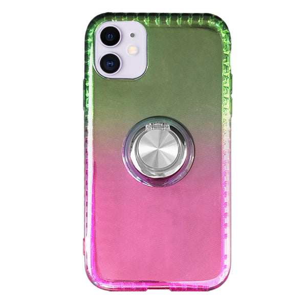 Gradient TPU Case with Ring Holder for iPhone 11 - Pink & Yellow