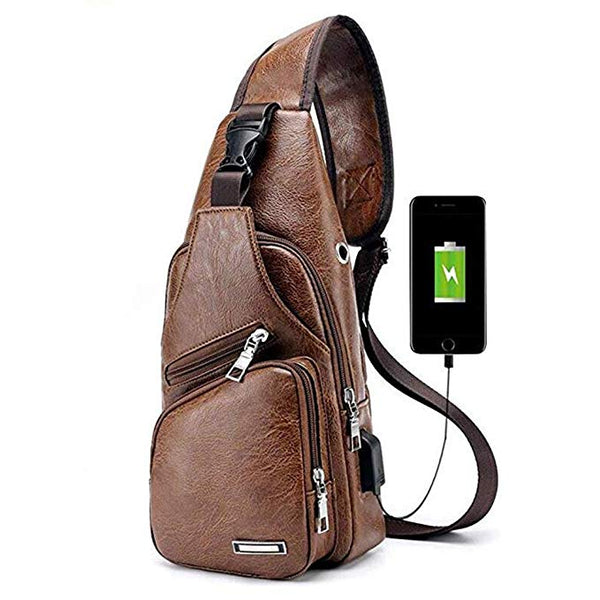 Crossbody Backpack Chest Bag - Tan Brown