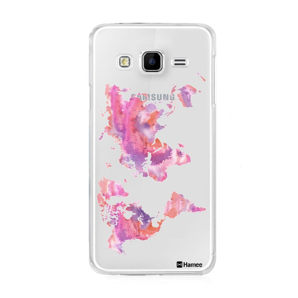 Hamee Pink World Map Designer Cover For Samsung Galaxy J7 - Hamee India