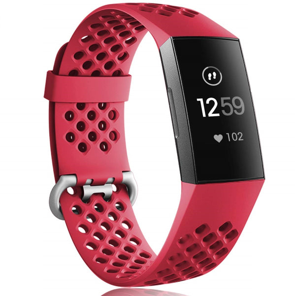 Fitbit Charge 3 / Charge 3 SE TPU Wrist Strap - Wine Red (Large)