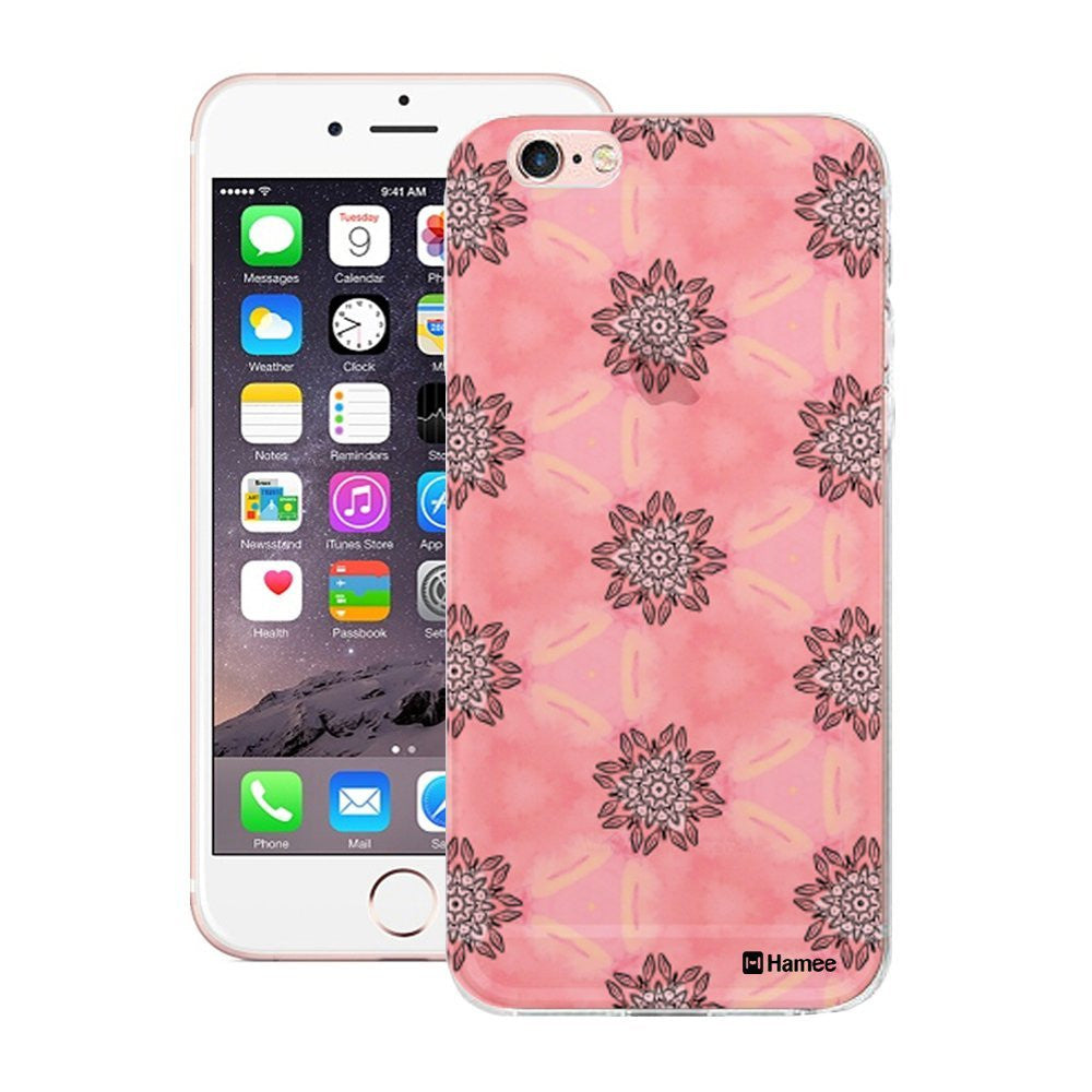 Hamee Black Flowers On Translucent Pink Designer Cover For Apple iPhone 6 / 6S-Hamee India