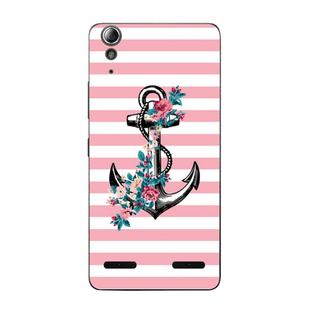 Hamee Anchor / Pink X White Designer Cover For Lenovo A6000 / A 6000 Plus - Hamee India