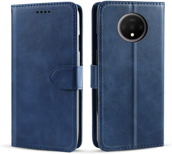 PU Leather Flip Cover for OnePlus 7T (Dark Blue)