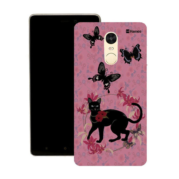 Hamee Black Cat Buttefly On Pink Designer Cover For Motorola Moto X Play - Hamee India