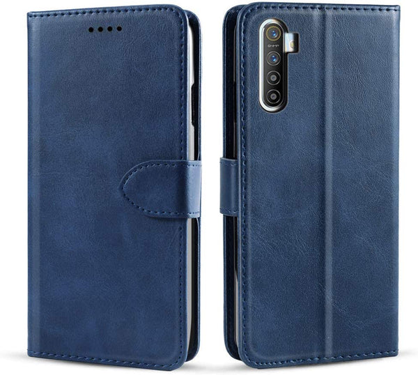 PU Leather Flip Cover for RealMe XT (Dark Blue)