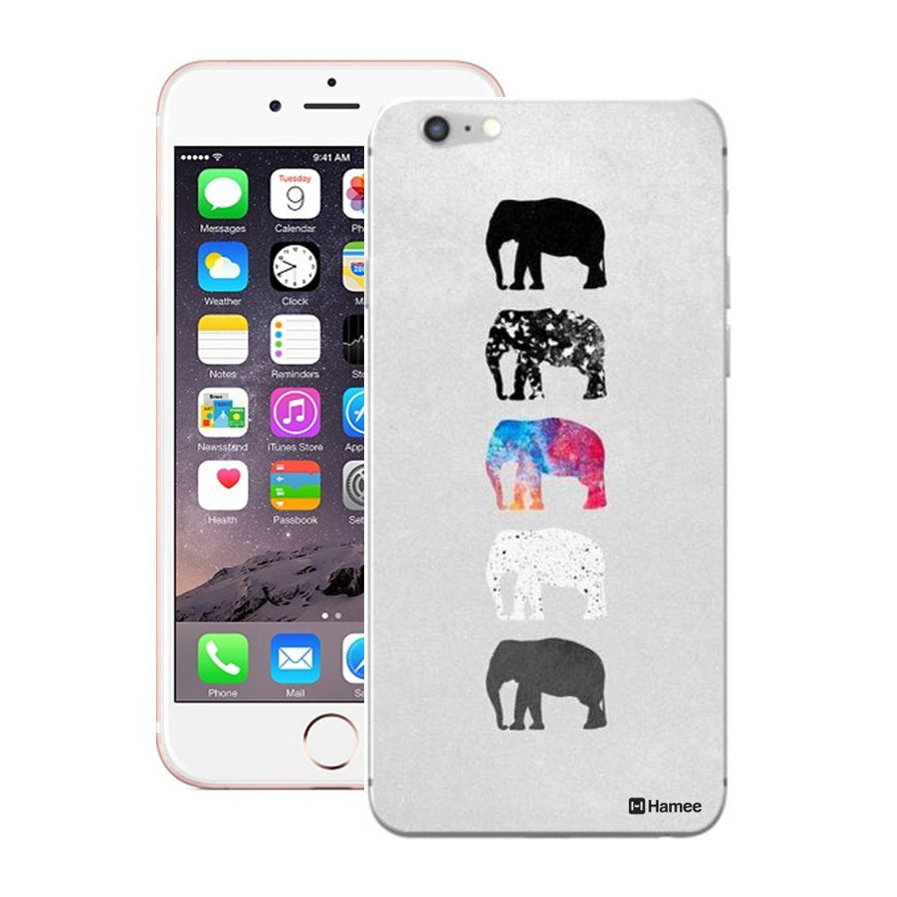 Hamee Elephants On Grey Designer Cover For Apple iPhone 6 / 6S-Hamee India