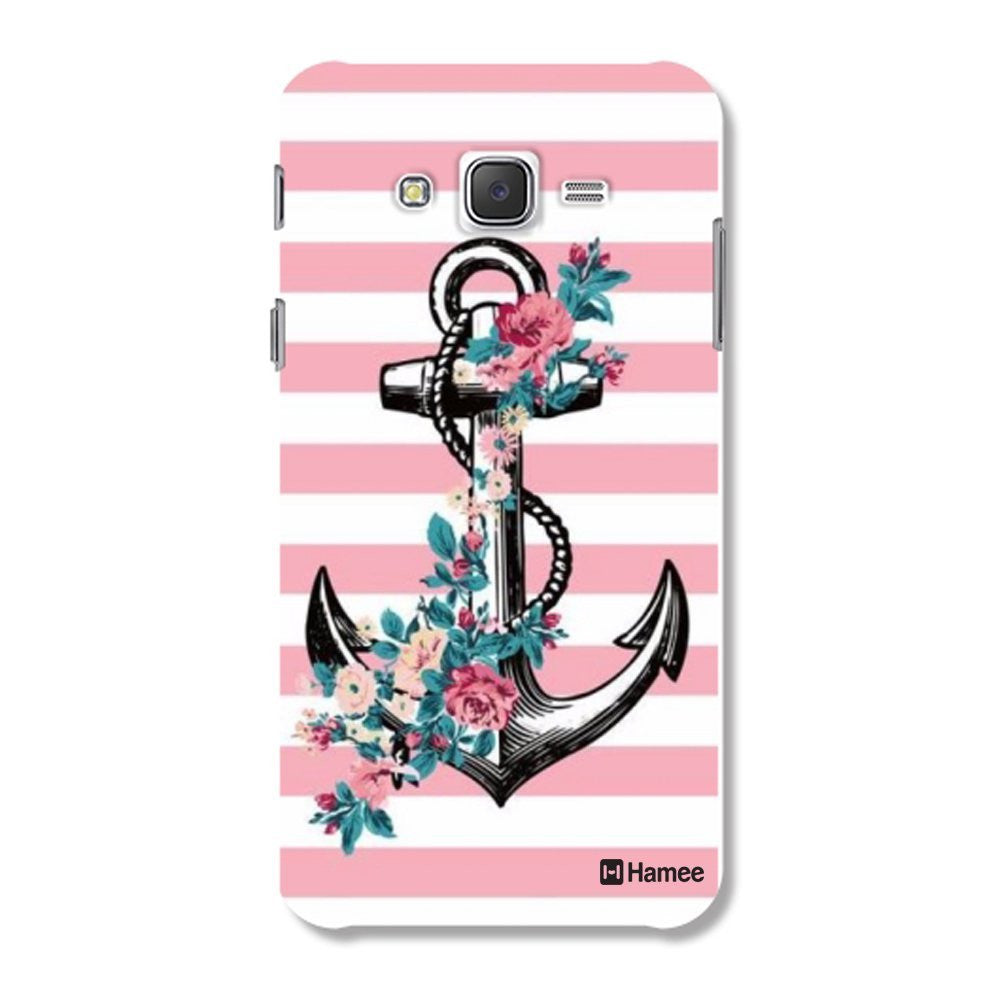 Hamee Anchor / Pink X White Designer Cover For Samsung Galaxy J7 - Hamee India