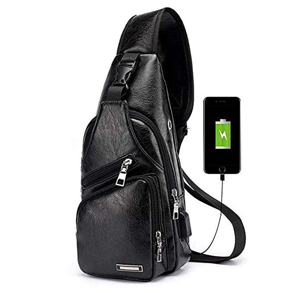 Crossbody Backpack Chest Bag - Black