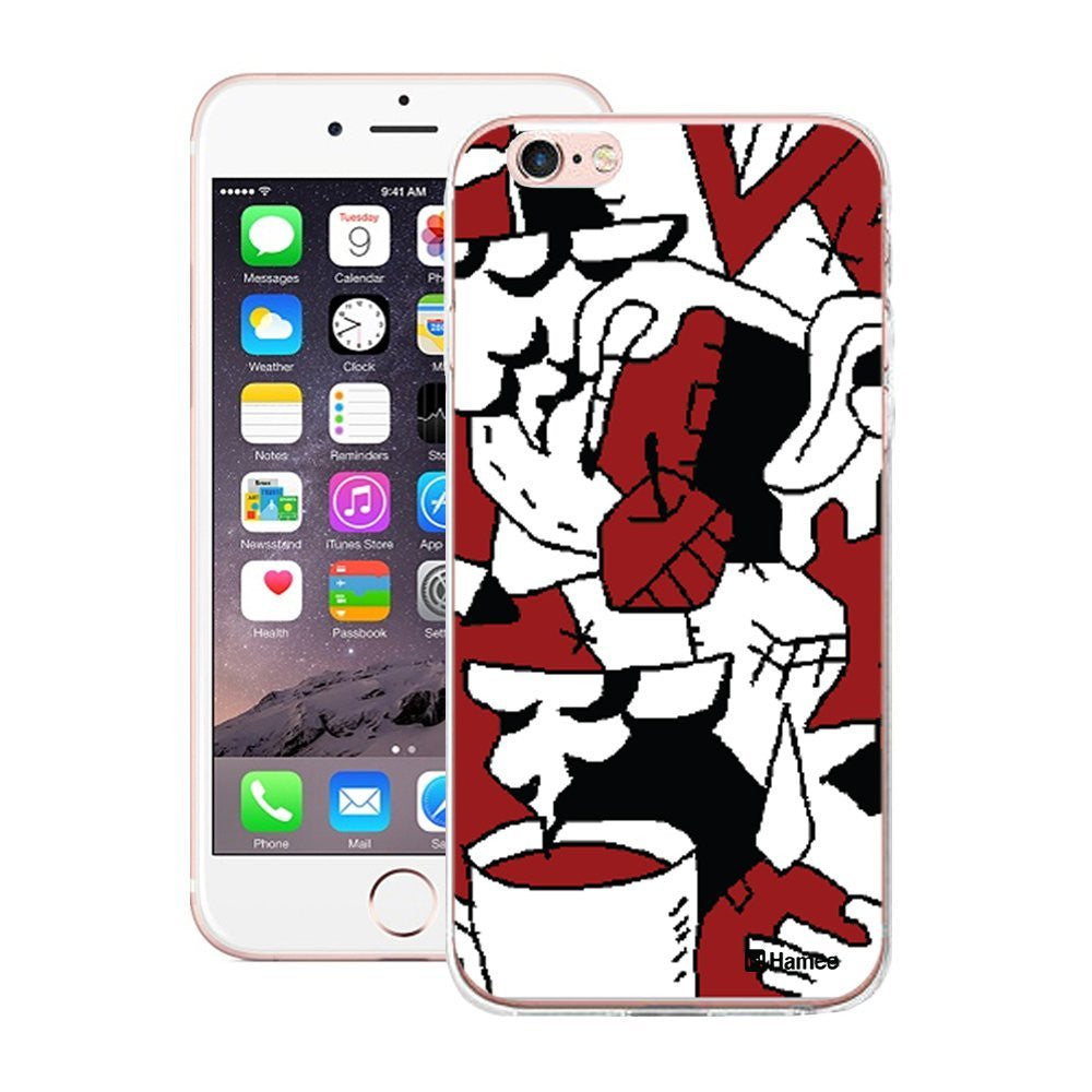 Hamee Abstract Red White Black Designer Cover For Apple iPhone 6 / 6S-Hamee India