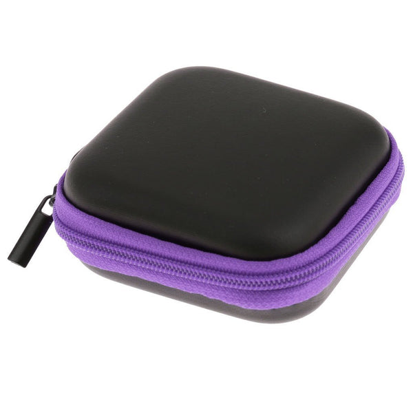 Mini Square Carrying Pouch for Earphones & Cables - Purple-Hamee India