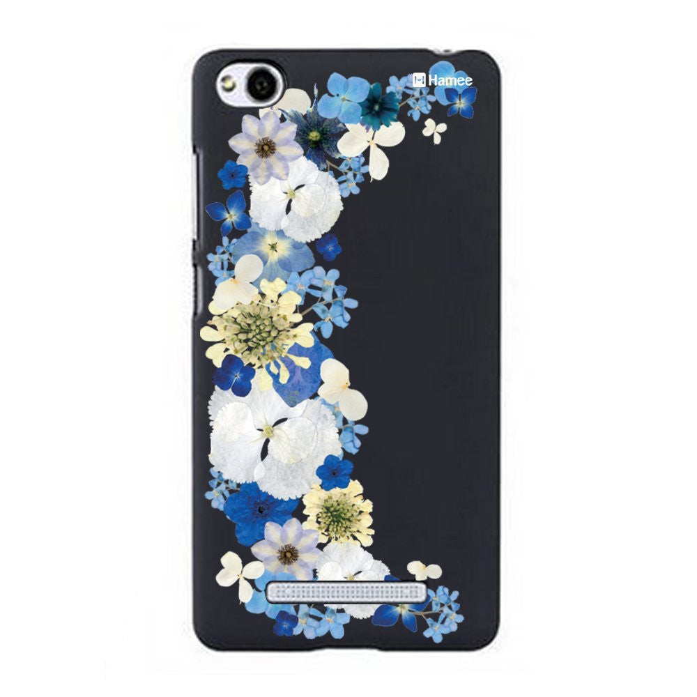 Hamee Blue Big Side Flowers Designer Cover For Xiaomi Redmi 3-Hamee India