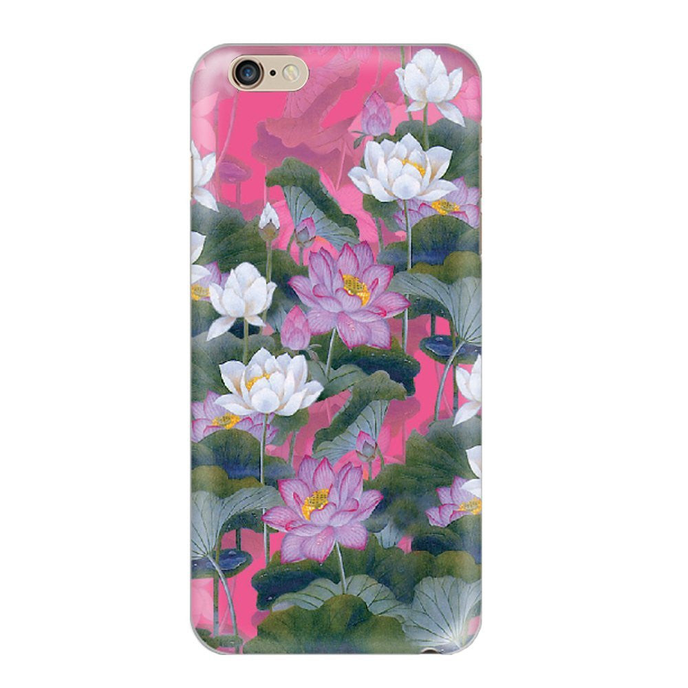 Hamee Water Lilies / White X Purple X Green Designer Cover For Apple iPhone 6 / 6S-Hamee India