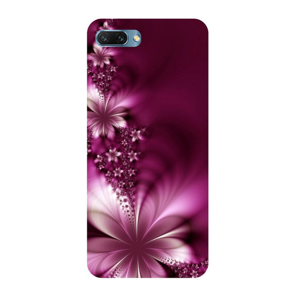Purple flowers- Printed Hard Back Case Cover for Honor 10