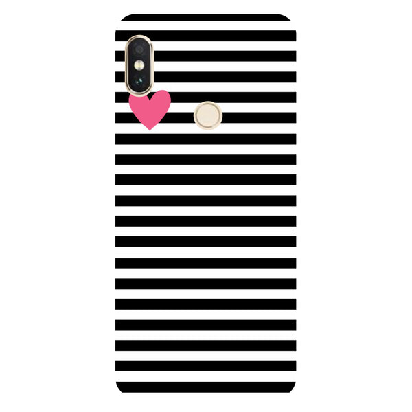Hamee- Stripes heart-Printed Hard Back Case Cover For Xiaomi Mi 8