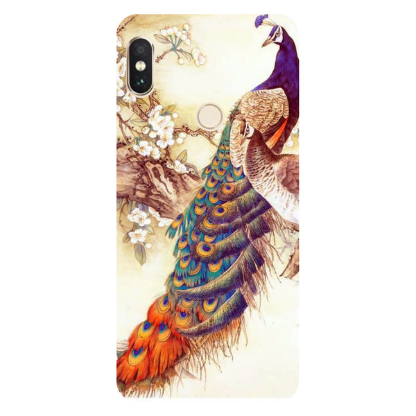 Hamee- Yellow peacock-Printed Hard Back Case Cover For Xiaomi Redmi Y2