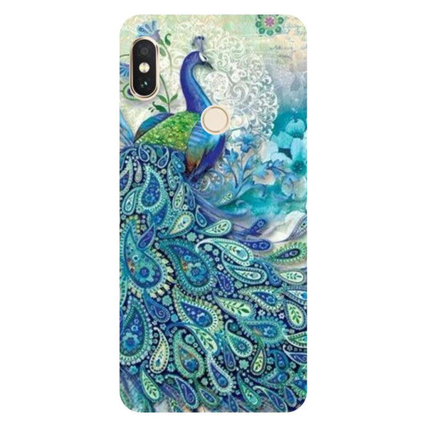 Blue Peacock Redmi 6 Pro Back Cover-Hamee India