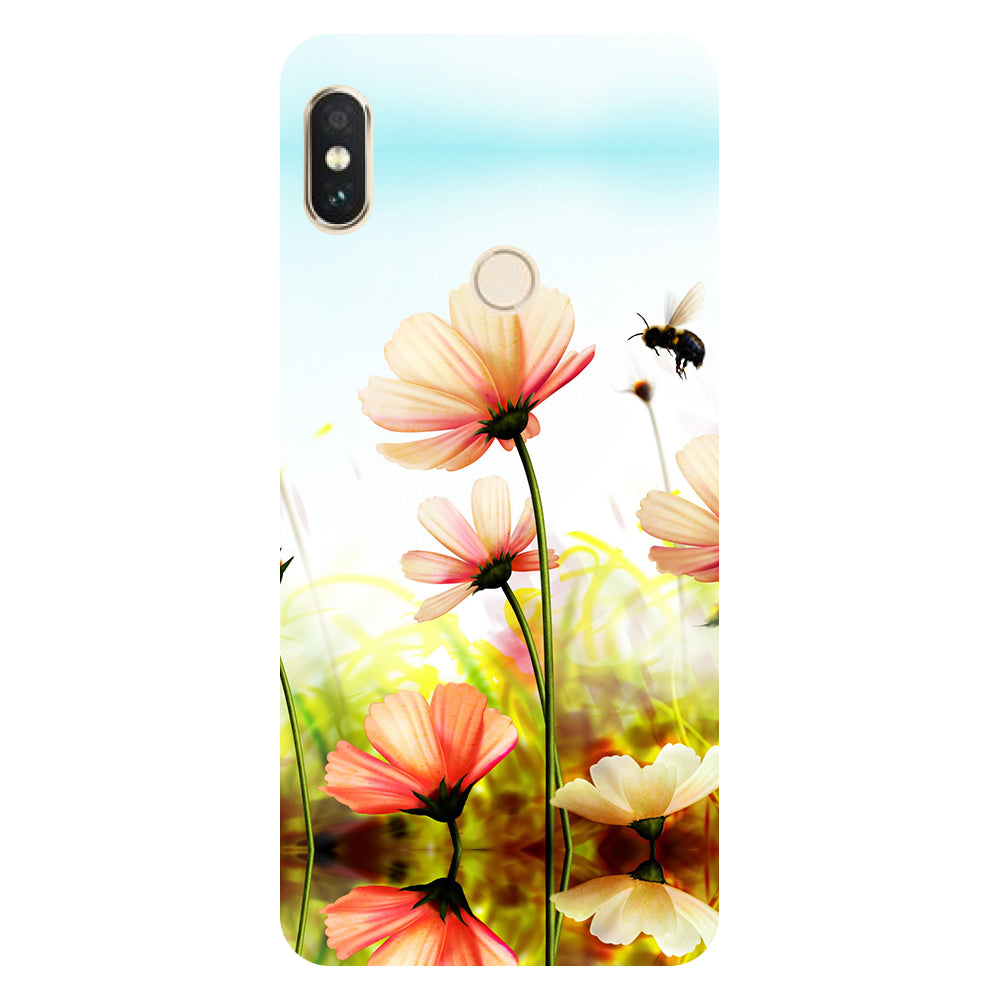 Hamee- Flower bee-Printed Hard Back Case Cover For Xiaomi Mi 8-Hamee India