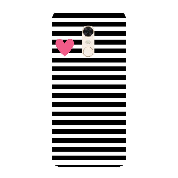 uk availability a01ed c3b37 Stripes heart- Printed Hard Back Case Cover for Xiaomi Redmi Note 5
