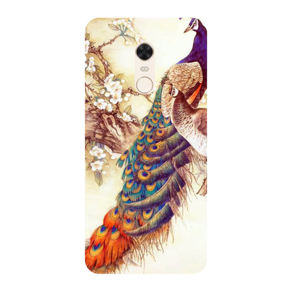 Yellow peacock- Printed Hard Back Case Cover for Xiaomi Redmi 5