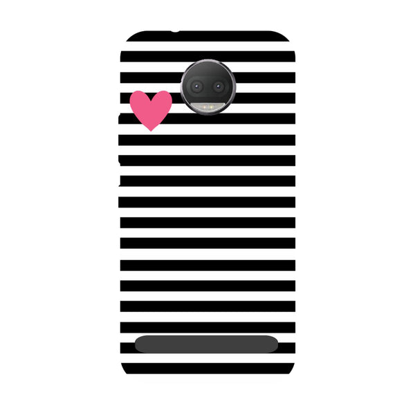 Stripes heart- Printed Hard Back Case Cover for Moto Z3 Play