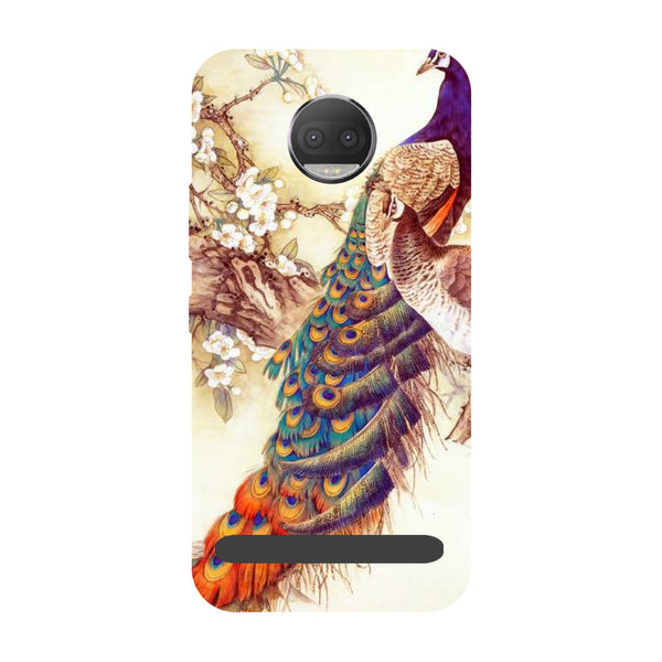 Yellow peacock- Printed Hard Back Case Cover for Moto Z3 Play