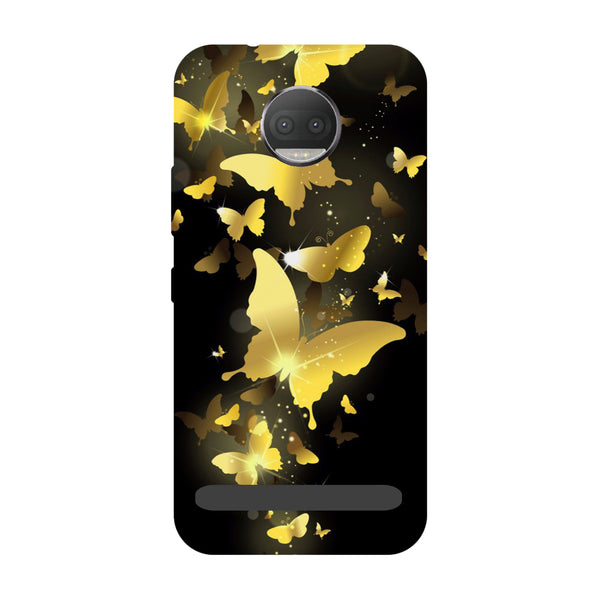 Golden Butterflies- Printed Hard Back Case Cover for Moto Z3 Play-Hamee India