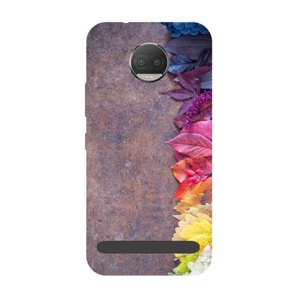 Side flowers- Printed Hard Back Case Cover for Moto Z3 Play
